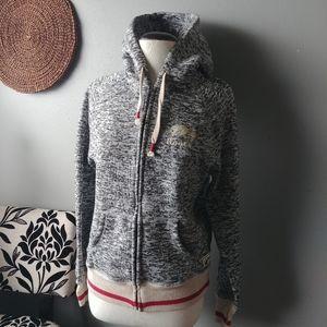 Roots boyfriend grey mix zip up hoodie size M